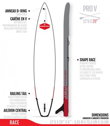 Fb Pro V 12'6 x 29 - Woven construction - REDWOODPADDLE Stand up paddle FUNBOX PRO BALADE COURSE