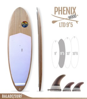 PHENIX LTD 9'5 WOOD SERIES - REDWOODPADDLE Stand up paddle PHENIX LTD