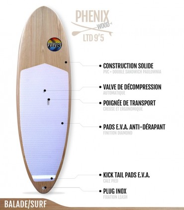 PHENIX LTD 9'5 WOOD SERIES - REDWOODPADDLE Stand up paddle PHENIX LTD