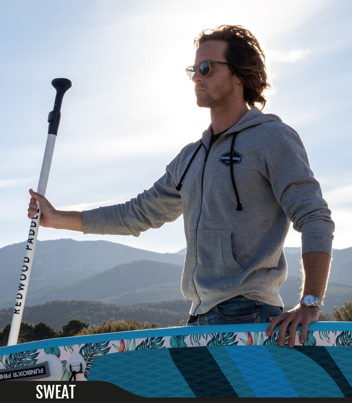 SWEAT CAPUCHE GREY - REDWOODPADDLE Stand up paddle Accessoires